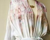 early bird robe sale Hand Dyed Kimono Robe in Mother of Pearl, Tie Dye, Shibori, Rayon Bathrobe, Anna Joyce, Portland, OR.