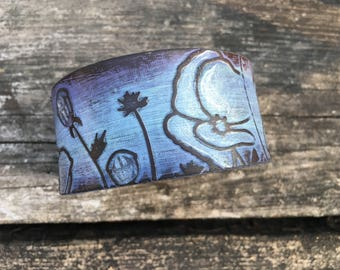 Embossed Leather Cuff-Create Your Own-Hand Painted Floral Leather-Word Cuff-Poppies