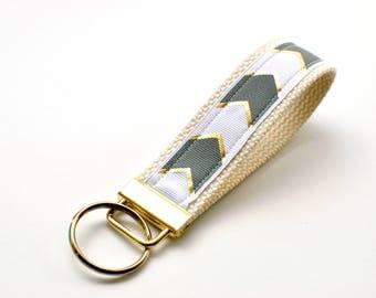 Key Fob Keychain Wristlet | Grey with Gold Chevron Arrows Keychain