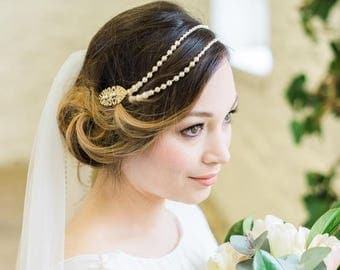 Draped Pearls with Art Deco Inspired Hair Clips, Bronte Gold