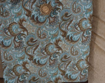 "Handcrafted/Quilted Tote Bag,14""Wx16-1/2""L, Aqua/Brown Paisley Print"
