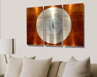 Copper Modern Metal Wall Clock - Abstract Functional Art - Contemporary Painted Metal Clock - Hanging Timepiece - Endless Time by Jon Allen