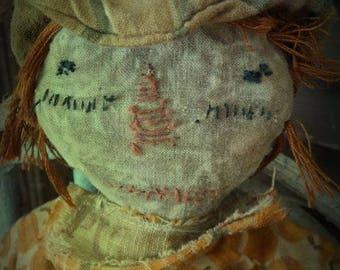 MUSTARD SEED ORIGINALS, Witch, Raggedy Ann, Orange, Pumpkin, Fall, Halloween, Doll by Sharon Stevens