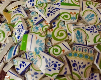 100 Mosaic Supplies Broken Plate Tiles Art Hand Cut Vintage Antique China Pieces Swirls Flowers Green Blue 100