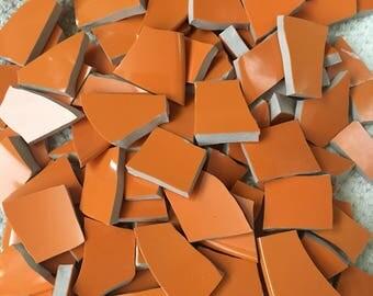 100 Mosaic Tiles Broken Plate Pieces Solid Bright Orange