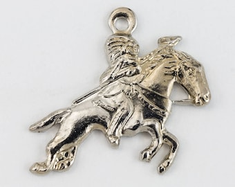 16mm Silver Galloping Horse with Rider Charm (2 Pcs) #160B