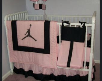 NEW 7 piece pink/black baby crib bedding set in Michael Jordan JUMPMAN fabrics