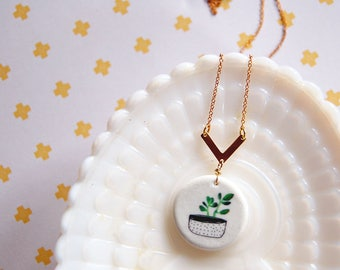 modern vintage Little house plant ceramic pendant necklace with brass detail- plant love- vintage brass chain