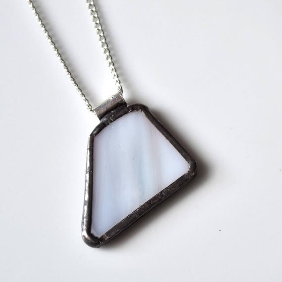 Recycled Stained Glass Jewelry Pendant - Blue Grey