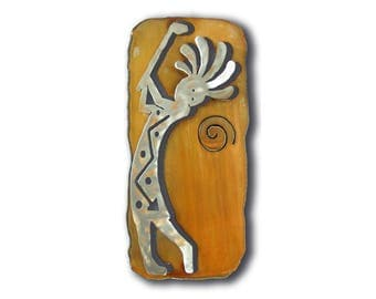 Golf Drive Kokopelli Cut Out Southwest Wall Art - Brown Rust and silver Finish