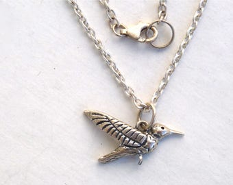 Sterling silver Bird pendant, Humming Bird, Chain necklace