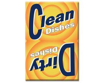 Clean Dishes Dirty Dishes Sign 2 x 3 Inch Funny Rectangle Refrigerator Fridge Magnet Kitchen Dishwasher Vintage Soap Logo Look