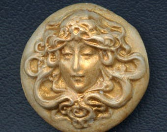 Polymer  Clay Gold Highlighted Art Nouveau Maiden Cab  GGC 2