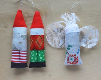 Patchwork elf duo with angel friend Christmas tree decorations no. 4