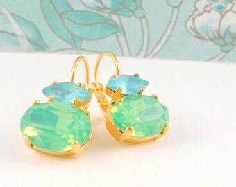 Czech Green Opal  and Aqua Drop Leverback Earrings