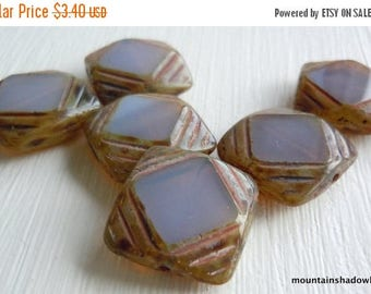 25% OFF Sale Czech Glass Beads 15mm Milky Amethyst Picasso Squares - 6 pcs (G - 381)