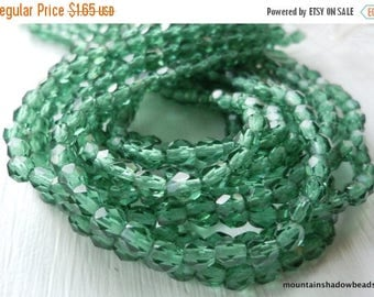 25% OFF Sale Czech Firepolished Faceted 4mm Prairie Green - 50 (G - 28)