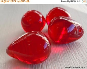 25% OFF Sale Czech Glass Beads - Large Drop Beads Ruby Red X-Large 20mm (GG - 59)