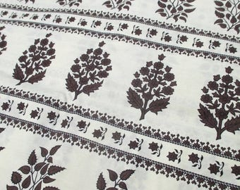 """ON SALE Vintage Printed Cotton Fabric Brown Off White Floral Print 4 Yards 37"""" wide 50s 60s"""