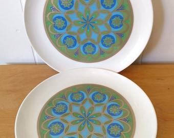 2 vintage gold mandala melmac dinner plates