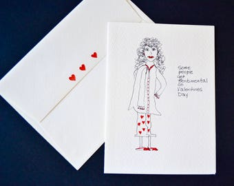 Valentines Day Original Watercolor,  Funny Note Card (see inside!)  with  Envelope-  Free Shipping!