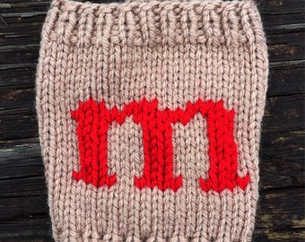 Beige with Red Monogram Cup Cozie - Personalized Gift - Initial Cup Cozy- Coffee Sleeve - Reusable Coffee Cup Sleeve -Secret Santa Gift