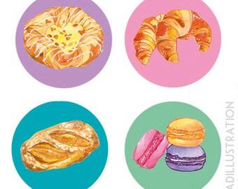 Four Piece Badge Set – Pâtisserie
