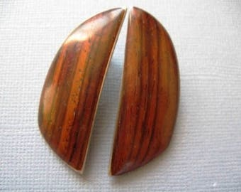 Vintage Walnut and Sterling Handcrafted Earrings - Collectors Jewelry - wood art - wood jewelry