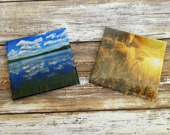 """Sunny Days and Blue Skies 3""""x3"""" Photo Magnets - Set of 2"""