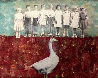 painting  portrait vintage children school days mixed media heather murray