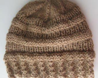 Alpaca Hat. Knit Hat for Men or Women, Handmade Beanie, Tan Winter Hat