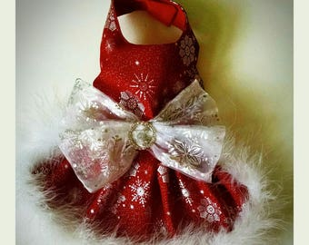 Christmas dog dress snowflakes and crystal New Years Winter snow dress.