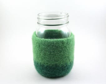 Wool felted mason jar cover - mason jar sleeve - felted wool - spring green and grass