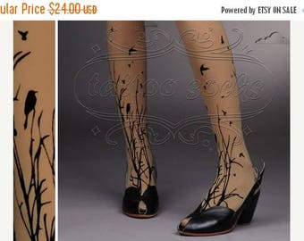 ON SALE/// fabulous FOREST Symphony tattoo thigh-high nylons Cafe Latte