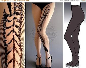SALE///Happy2018/// S/M Fish Bone Dark Grey tattoo tights / stockings /  full length  / pantyhose / nylons