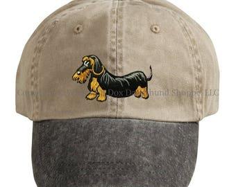 Embroidered Wirehaired Dachshund Ball Cap / Khaki