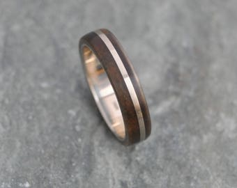 Size 6,READY TO SHIP White Gold Solsticio Guayacan - sustainable wood and recycled white gold wood ring, wood wedding band, womens ring