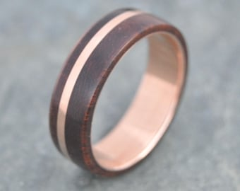 Size 11.5, 7mm READY TO SHIP Rose Gold Solsticio Oro Nacascolo Wood Ring - 14k rose gold, pink gold wood wedding band, wooden rose gold ring
