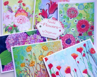Fanciful Flowers - set of Blank Note Cards by Jenlo