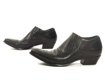 90s Winklepicker Ankle Boots / Vintage 1990s Black Leather Durango Booties / Shortie Western Cowboy Rocker Chelsea Boots / Women's Size 9
