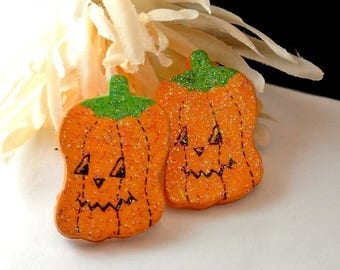 July 4th Sale Halloween Earrings, Wood Pumpkin Earrings, Pumpkin Wood Earrings, Orange Black Earrings, Halloween Decor
