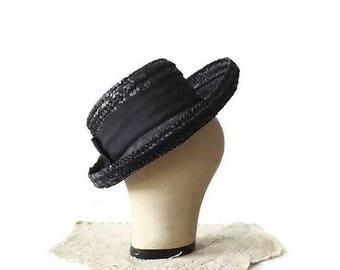 Black Cello Straw Hat, Vintage Cap with Netting, B Forman Co, Mid Century Ladies Fashion, Halloween Costume Accessory