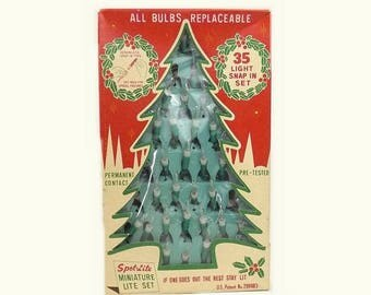 1960s Miniature Christmas Lites, Vintage  Mini Christmas Tree Lights, Unopened in Box, Mid Century Holiday Decor Collectible