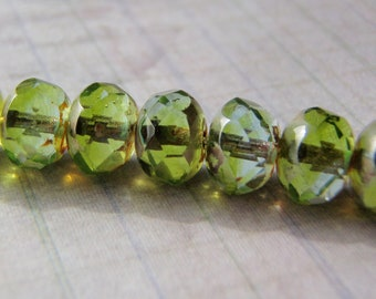 Peridot Green and Aqua Beads Picasso Finish on the Ends 8x6mm Glass Rondelle 10 Beads