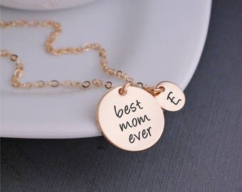 Personalized Christmas Gift, Gold Best Mom Ever Necklace, Mother's Charm Necklace, Mom Jewelry