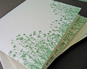 Green Flowers - Single Handmade Greeting Card