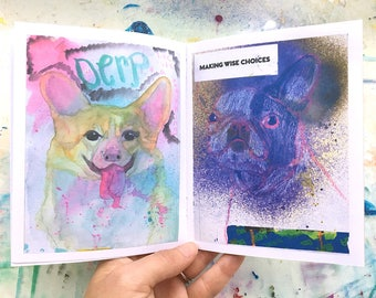 Funny Watercolor Painting, Dog Lover Gifts For Men, Best Dog Lover Gifts, Gifts For Him Under 10, Cute Girlfriend Gifts,College Student Gift