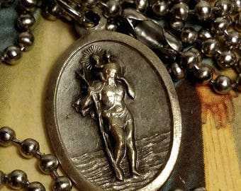 SALE TODAY Saint Christopher St Sebastian Silver Tone Upcycled Religious Medal Pendant Charm Necklace Long Steel Chain
