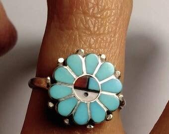 Flash Sale Vintage Sterling Silver Zuni Turquoise Inlay Native American Kachina Ring Boho Southwestern Jewelry Size 6