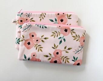 Pink zipper pouch, cash envelope, Eyeglass case, Pen pencil, cash wallet, Cosmetic makeup bag, Canvas bag, coupon organizer, travel kit